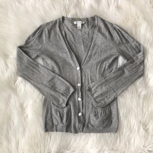White House Black Market Gray Button Up Sweater